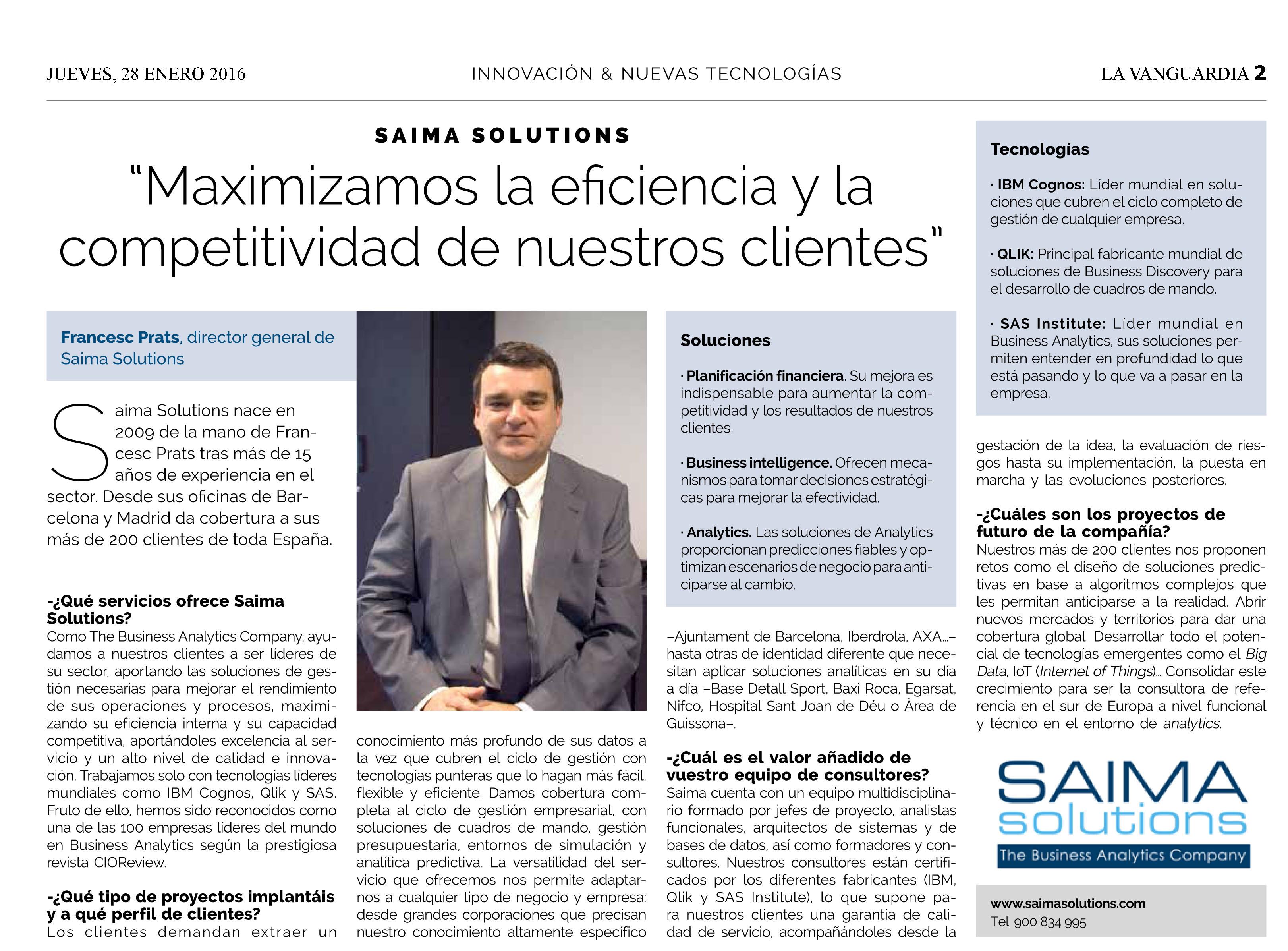 La Vanguardia entrevista a Francisco Prats para conocer mejor a Saima Solutions