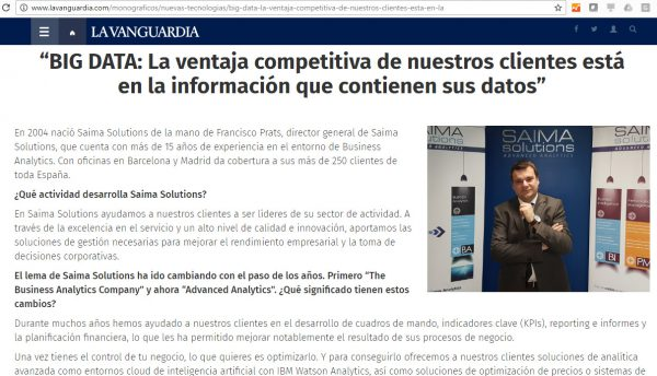 La Vanguardia, Saima Solutions